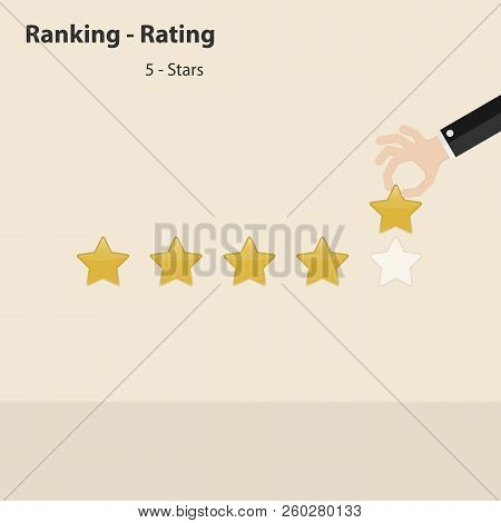 Businessman Hand Character With Rating Or Raking Concept On The Screen.5 Stars Rating Or Raking Conc