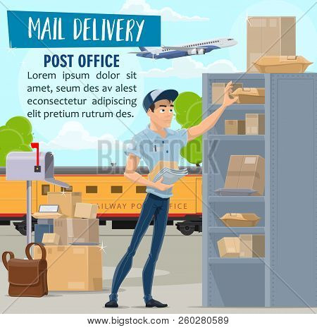 Post Office And Mail Delivery Service, Vector. Mailman In Uniform And Parcels, Postal Train And Airp