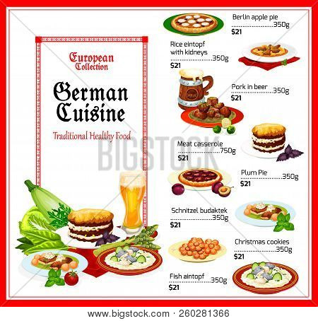 German Cuisine Menu, Vector. Berlin Apple And Plum Pies, Rice With Kidney And Fish Eintopf, Pork In