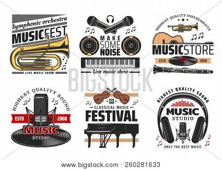 Classic, Symphonic And Live Music Festival Concert Icons. Musical Instruments, Trumpet And Microphon