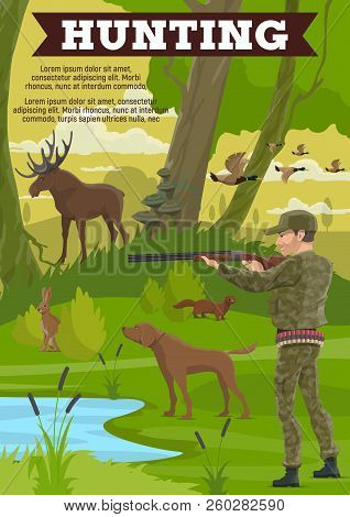 Hunting Sport Poster With Mature Hunter, Wild Animal And Dog. Huntsman In Military Outfit With Rifle
