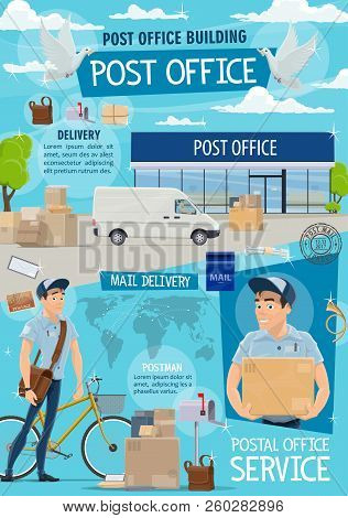 Post Office And Mail Delivery. Postage Service, Post Shipping Transport And Postman At Work In Post