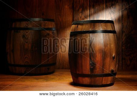 Old Wood Americana Antique Whisky Or Wine Barrel