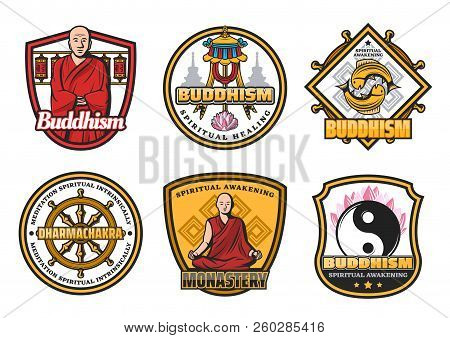 Religious Buddhism icons with monk in red robe and religious symbols. Dharma wheel and monastery, gold fishes and yin yang, lotus flower and flag symbols. Oriental religion attributes, vector design poster