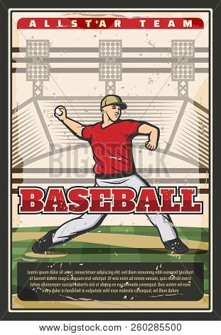 Baseball Sport Retro Poster, Player Pitching Ball. Fit Man In Uniform On Grass Field Takes Part In B