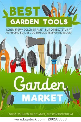 Gardening Tools With Agriculture Or Horticulture Equipment, Vector Market. Scissors And Secateur, Sh