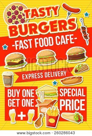 Fast Food Menu, Vector. Hot Dog And Cheeseburger, Hamburger And Pizza, French Fries Snack And Chines
