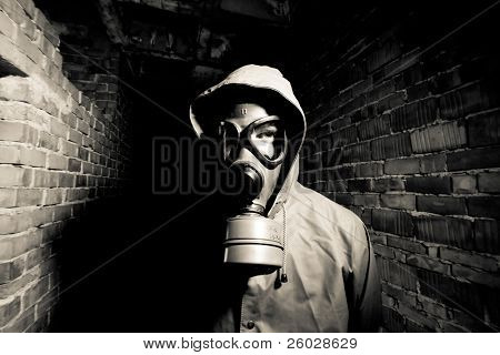 Man wearing respirator or gas mask poster