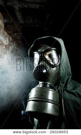 Man wearing respirator or gas mask poster