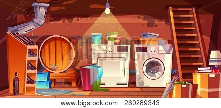 Cellar With Leakage Flood And Black Mould On Walls Vector Illustration. House Basement Or Wine Vault