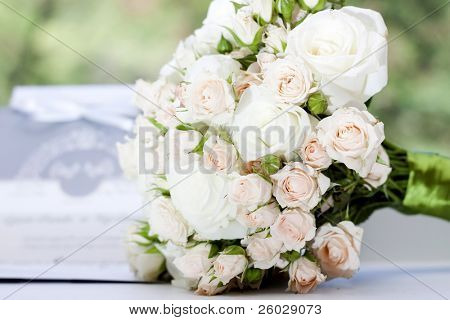 Wedding bouquet of pink and white roses
