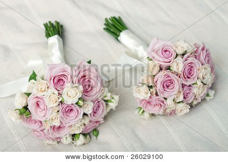 Wedding bouquet of pink roses