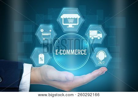 Businessman Holding Icon Of E-commerce Concept ,creative Design For Banner.