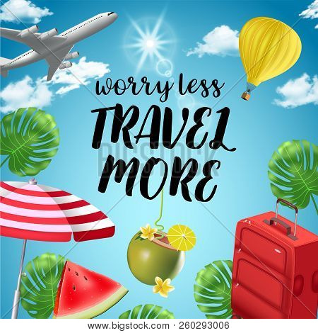 Vector Background With Beach And Travel Elements. Tourism. Traveling Around The World. Background Fo