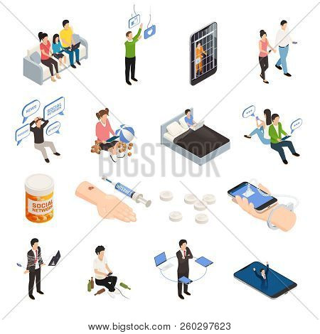 Internet Smartphone Gadget Addiction Isometric Icons Set With Human Characters Electronic Devices An