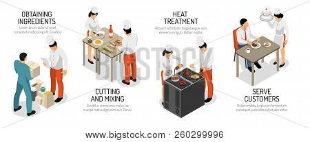 Professional Kitchen Horizontal Infographic Isometric Composition With Cutting Mixing Ingredients Co