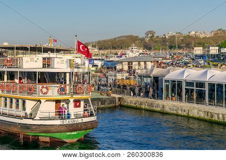 Istanbul, Turkey - April 25, 2017: Passengers Loading Into Local Ferry In Eminonu Ferry Terminal Bef