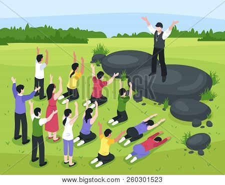 Isometric Religious Cult Composition With Outdoor Landscape And Group Of People Prostrating Themselv