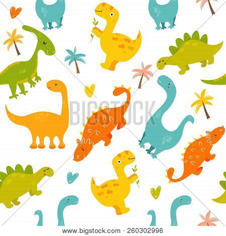 Bright Seamless Pattern With Cute Dinosaurs Of Different Species. Diplodocus, Stegosaurus, Parasauro
