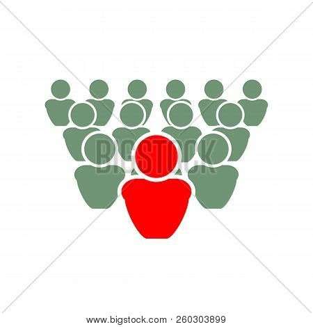 Vector Illustration: Be Different, Leader Concept, Out Of Crowd.