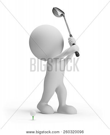 3d Person With Golf Club And Ball. 3d Image. White Background.