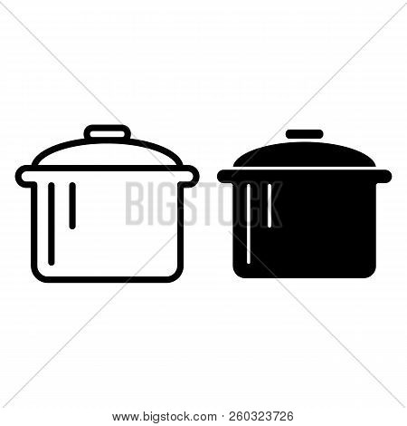 Pot Line And Glyph Icon. Saucepan Vector Illustration Isolated On White. Casserole Outline Style Des
