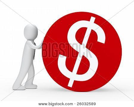 Businessma Push Red Dollar Circle