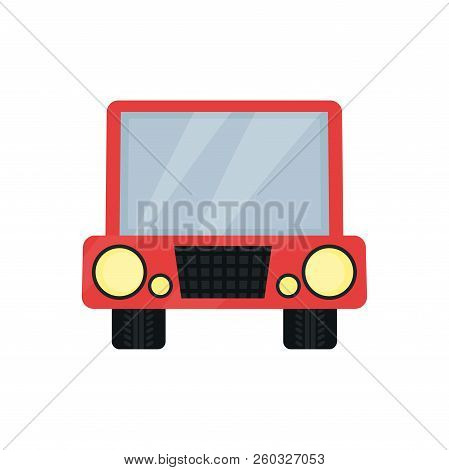 Cute Photo Frame In The Shape Of Toy Car, Album Template For Kids With Space For Photo Or Text, Card