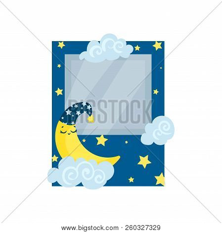 Cute Photo Frame With Moon, Stars And Clouds, Album Template For Kids With Space For Photo Or Text,