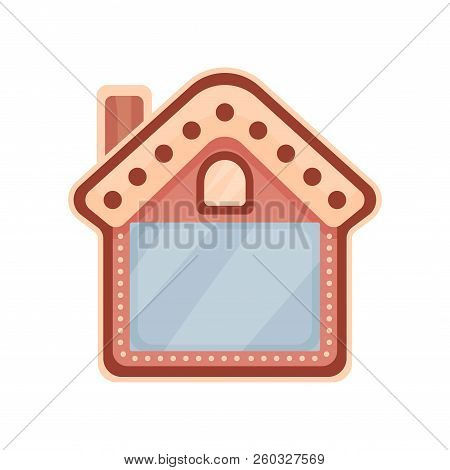 Cute Photo Frame In The Shape Of House, Album Template For Kids With Space For Photo Or Text, Card,