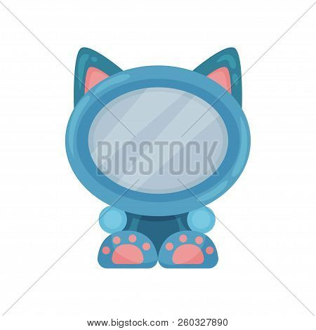 Cute Photo Frame In The Shape Of Cat, Album Template For Kids With Space For Photo Or Text, Card, Pi