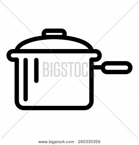 Casserole With A Handle Line Icon. Pan Vector Illustration Isolated On White. Pot Outline Style Desi