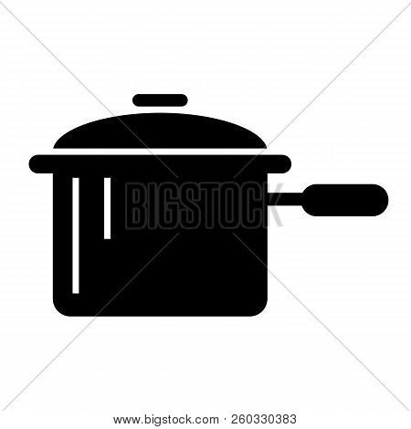 Casserole With A Handle Solid Icon. Pan Vector Illustration Isolated On White. Pot Glyph Style Desig