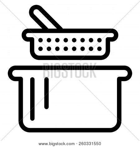 Sieve And Pan Line Icon. Colander And Casserole Vector Illustration Isolated On White. Kitchenware O