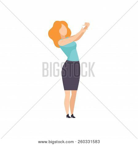 Woman Making Frame As A Focus For Photo With Her Fingers, Girl Gesturing For Cropping Image Vector I