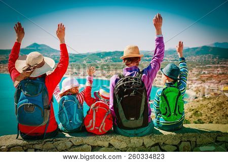 Happy Family With Kids Travel Together, Looking At Scenic View