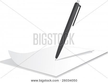 Clipboard with pen on top