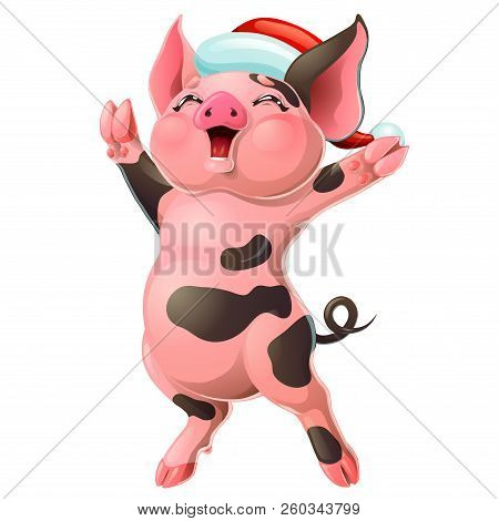 Joyful Black And Pink Pig With Cap On White