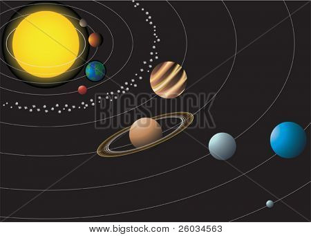 Solar system with nine planets. Vector illustration