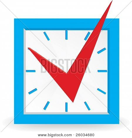 Red check mark on clock. Vector illustration