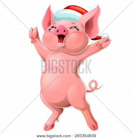 Joyful Pink Pig In Cap On White