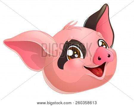 Lovely Pink And Black Pig Head On White