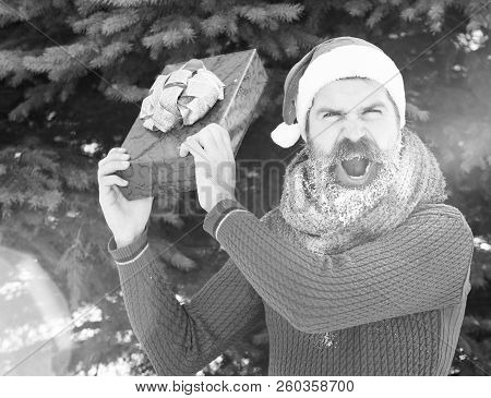 Angry Handsome Man In Santa Claus Hat, Bearded Hipster With Beard And Moustache Covered With White F