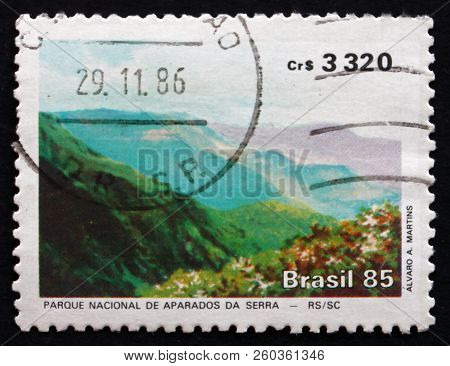Brazil - Circa 1985: A Stamp Printed In The Brazil Shows Aparados Da Serra National Park, Circa 1985