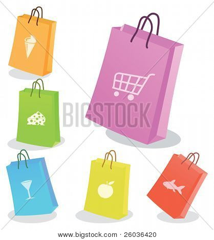Six shopping bags. Vector illustration poster