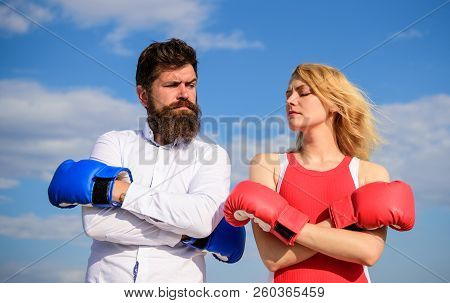 Couple In Love Boxing Gloves Sky Background. Man And Girl After Fight. Family Life Reconciliation An