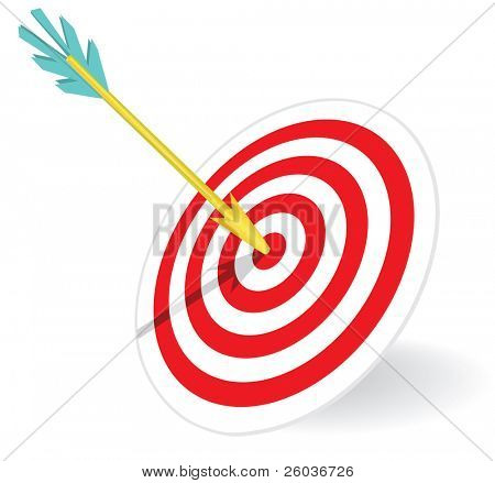 Dart in the center of a dartboard. Vector illustration