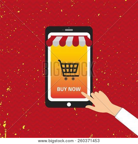 Shopping Online Mobile Phone Vector. Buy Now. Eps 10 Vector