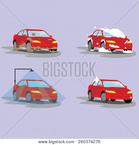 Washing Dirty Car, Set Of Icons. Steps Of Cleaning Cars From Muddy Dust To Clean And Shiny Red. Auto
