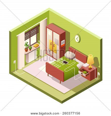 Bedroom Isometric Illustration Of Modern Small Room Interior With Furniture In Cross Section. Isomet